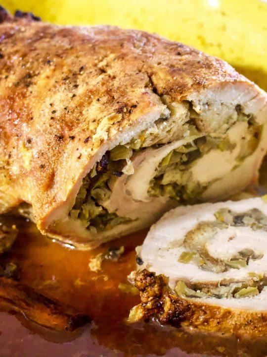 Apple And Mushroom Stuffed Roasted Pork Tenderloin