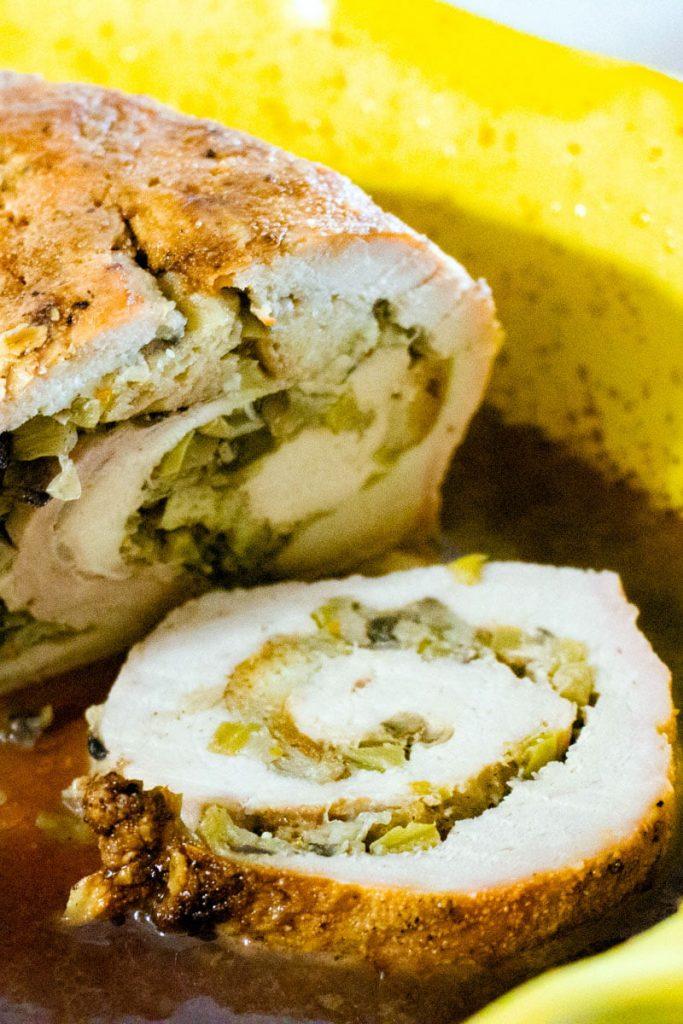 Apple and mushroom stuffed roasted pork tenderloin1 1