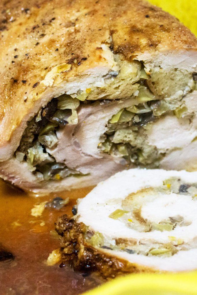 Apple and mushroom stuffed roasted pork tenderloin33