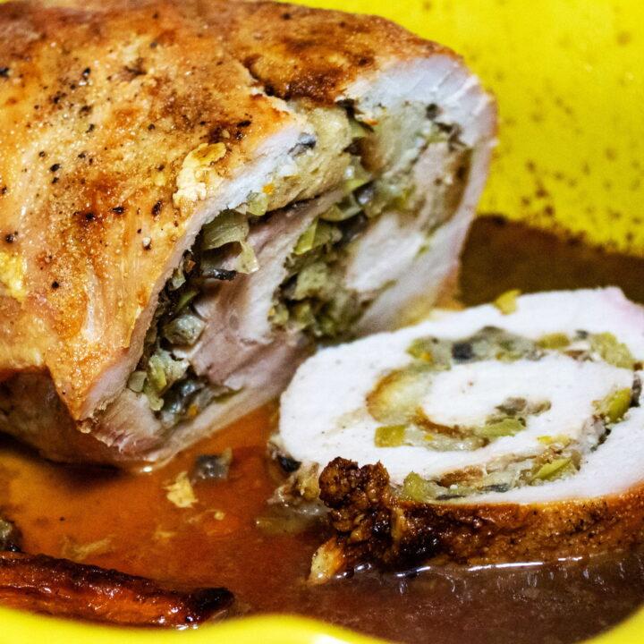 Apple and mushroom stuffed roasted pork tenderloin55