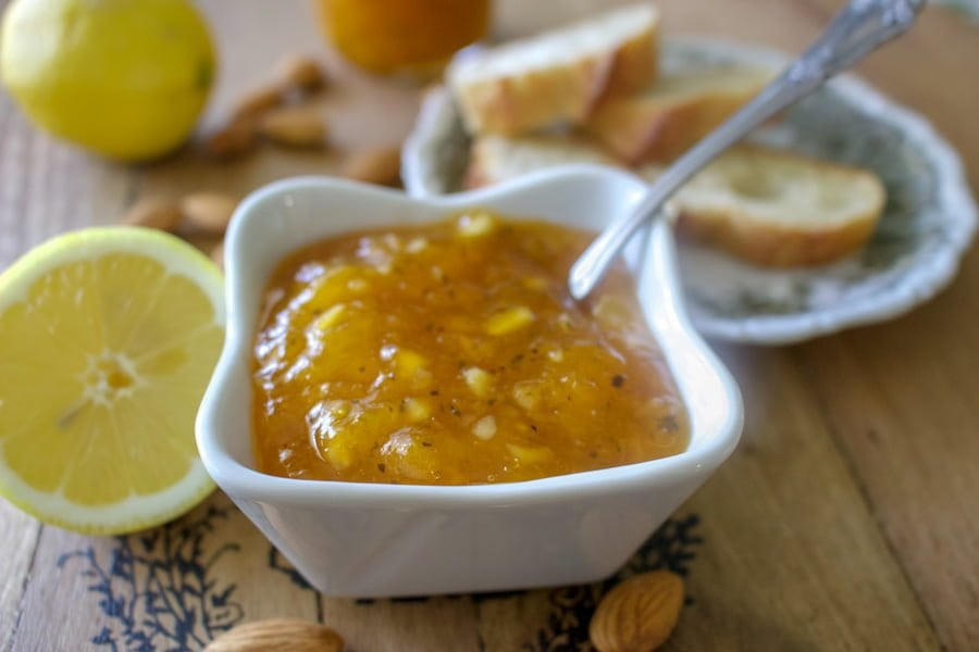 Apricot Jam with Ginger, Almonds and Mint- a delicious summer jam to enjoy on bread and butter, rice pudding, ice cream or just as is.