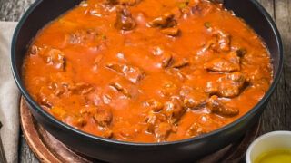Carne Con Tomate Meat in Tomato Sauce in the pan0