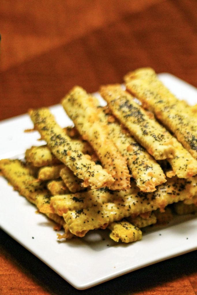 Cheese Straws with Cumin close up