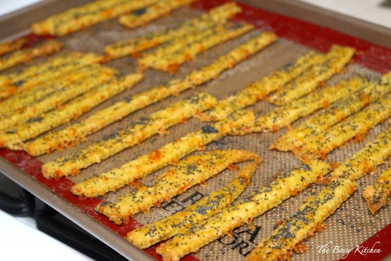 cheese straws on baking tray