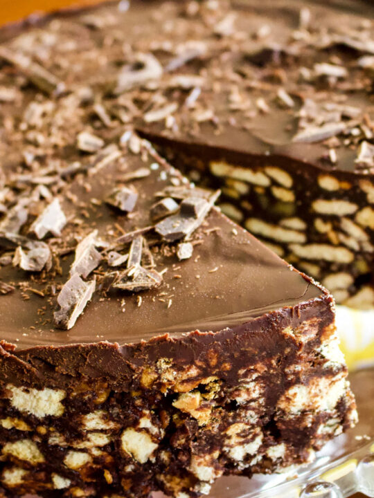 Chocolate Biscuit Cake - close up