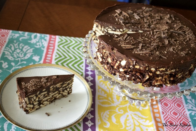 """This No Bake Chocolate Biscuit Cake is a beautiful, easy to make European dessert that is good for the entire family. It looks great as a cake for a fancier occasion, but equally delicious if shaped as a """"salami"""", the traditional way of making it."""