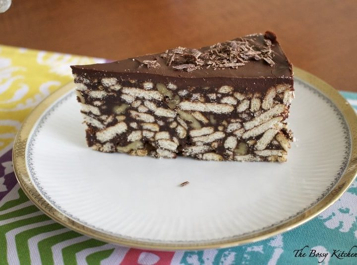 No Bake Chocolate Maria Cookie Cake- section of the cake on a white plate
