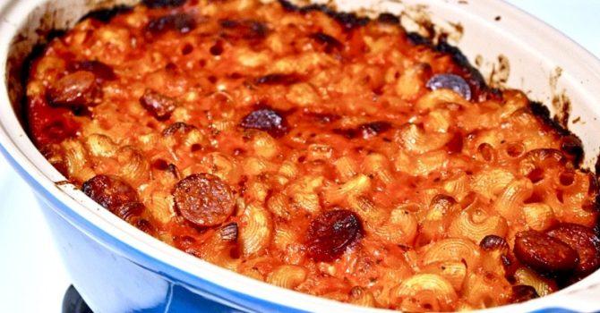 Cheesy Chorizo And Tomato Baked Pasta
