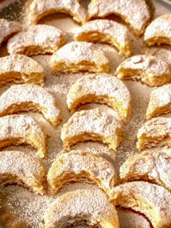 Kossuth Kifli or Half Moon Cookies is an old recipe, very popular in Hungary and also Romania and other Eastern European countries.