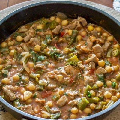 Okra with Chickpeas and Pork