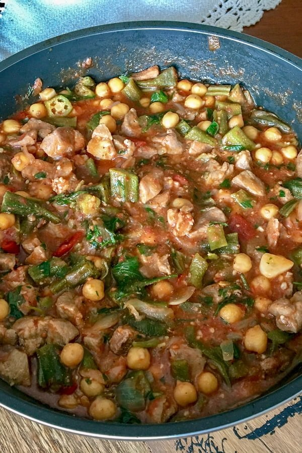 Okra with Chickpeas and Pork is an awesome recipe that can be made all year around. The dish can be made with fresh or canned chickpeas.