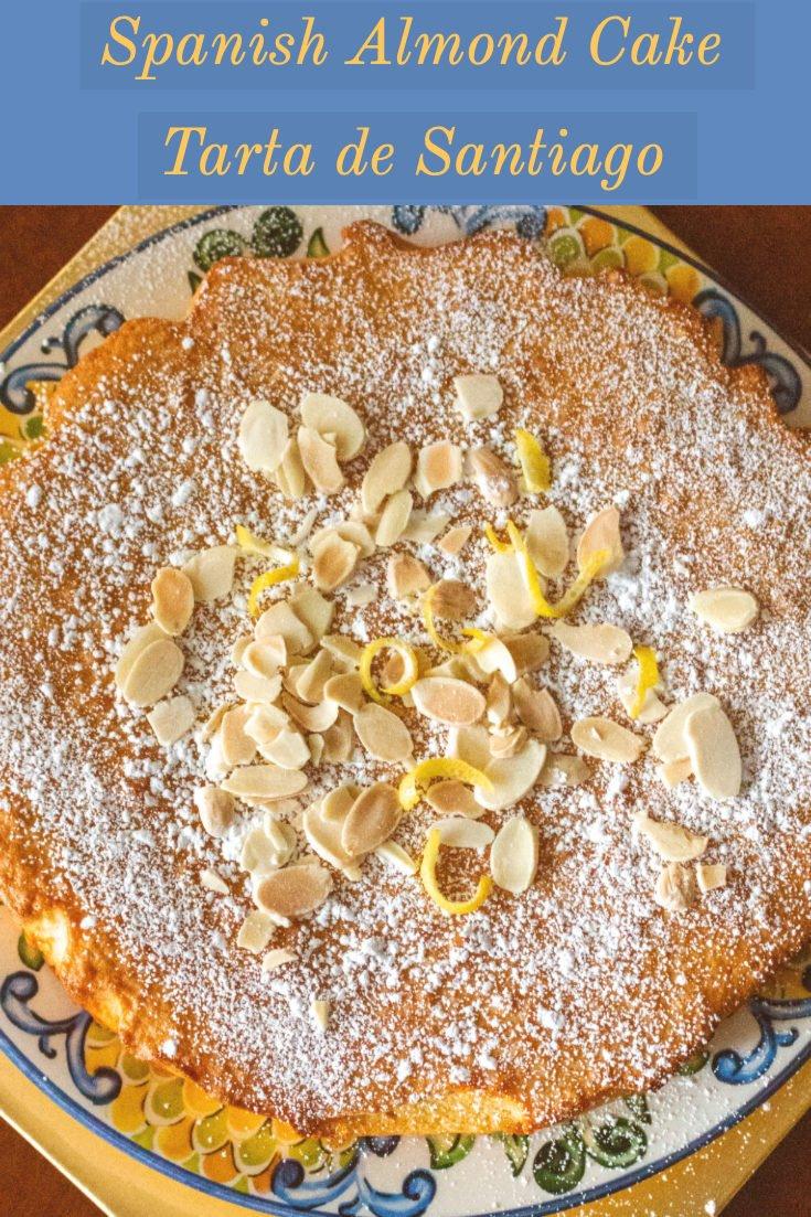 A delicious Spanish dessert made with almond flour. Gluten free. In Spain, this Tarta de Santiago is served around the holidays or during the Semana Santa, before Easter Sunday. #glutenfree #dessert #tartadesantiago #Spanishrecipes