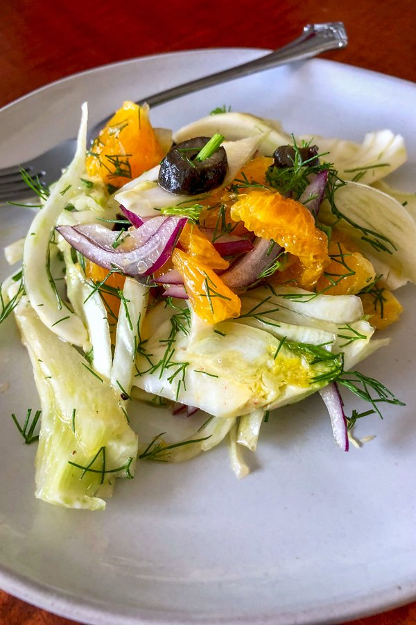 This recipe of Spanish Orange and Fennel Salad is great for a party, especially in the summer. It's sweet salty and fresh with great crunchiness from the fennel.