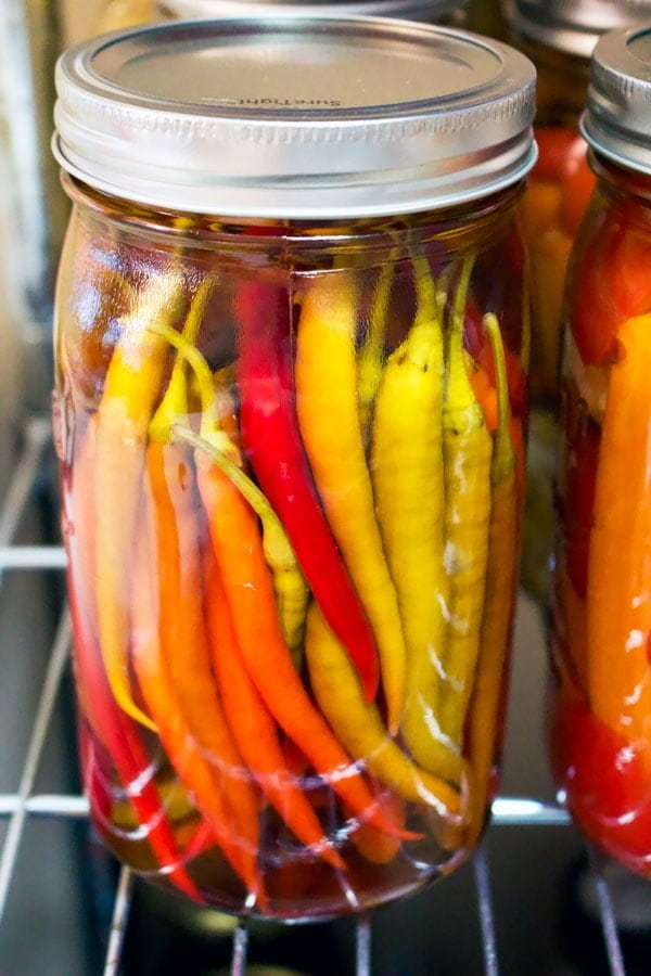 hot peppers preserved in vinegar