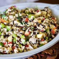 Brown and Wild Rice Salad with Chicken, Apples and Walnuts