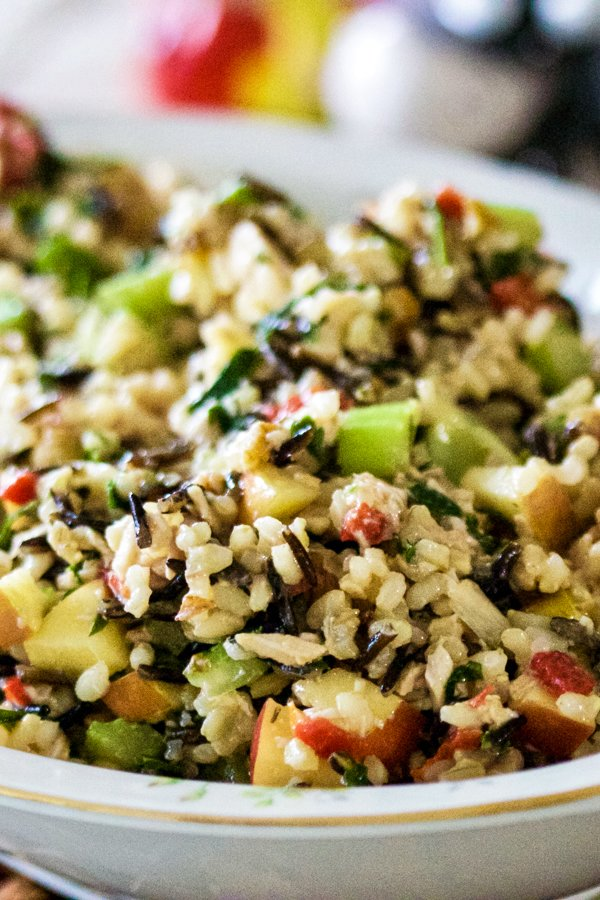 Brown and Wild Rice Salad with Chicken, Apples and Walnuts is a great recipe for the holidays to use the leftover chicken or turkey. Healthy and delicious!