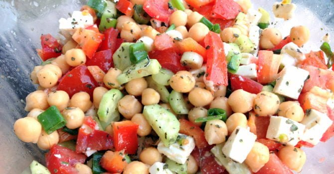 Chickpeas Cucumber And Tomato Salad