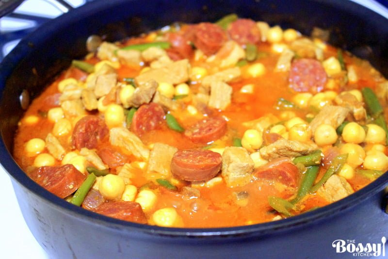 Chickpeas Green Beans With Pork And Spanish Chorizo -in a pan