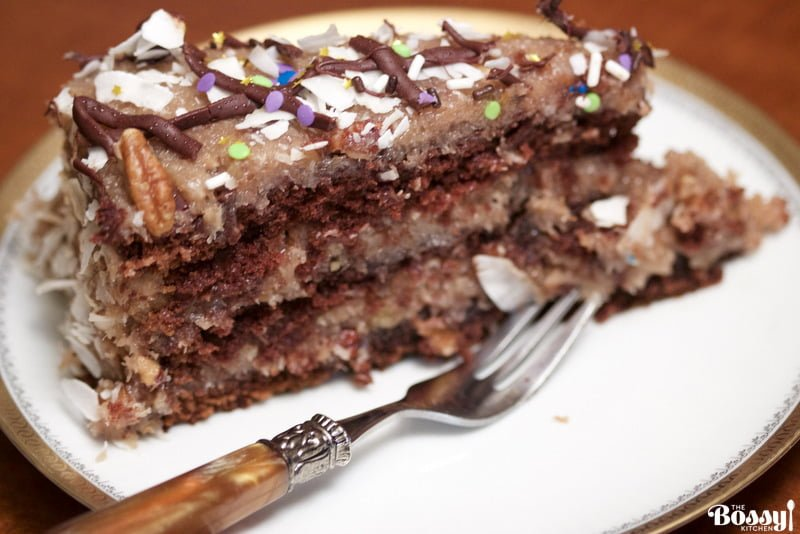 A decadent German Chocolate Cake that you will fall in love with. This is not your traditional German Chocolate cake. It is less sweet but full of flavors.
