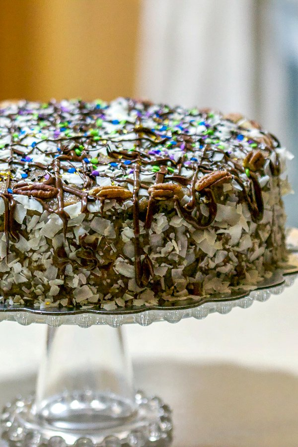 German Chocolate Cake on cake stand