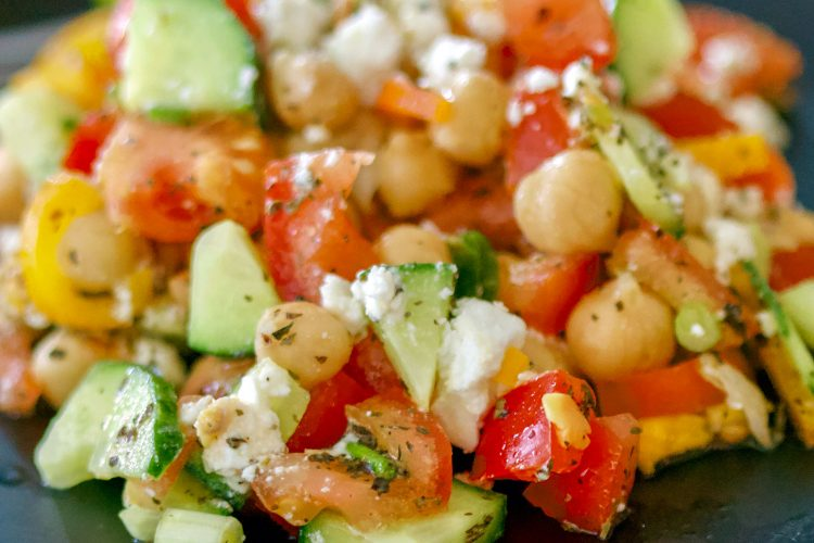 Easy Chickpeas Salad With Feta And Mint