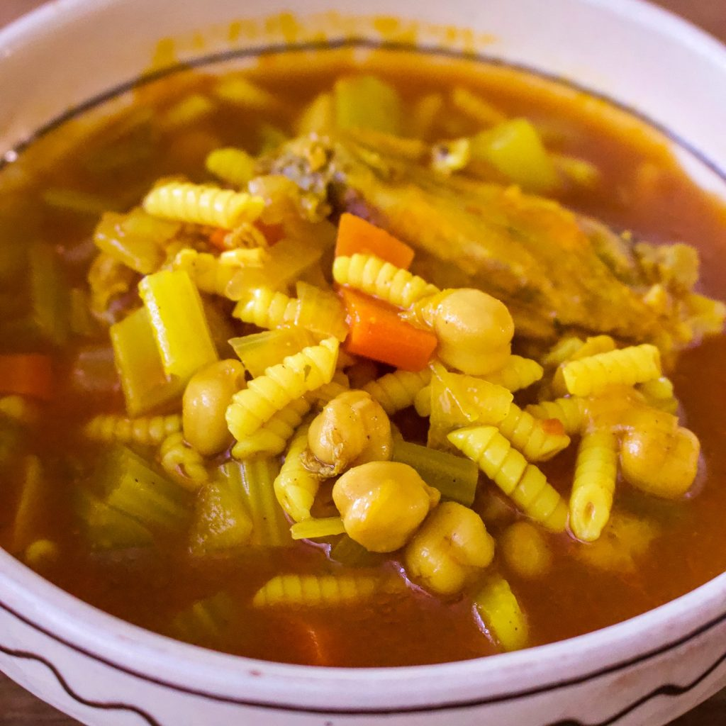 Moroccan chicken soup with chickpeas0