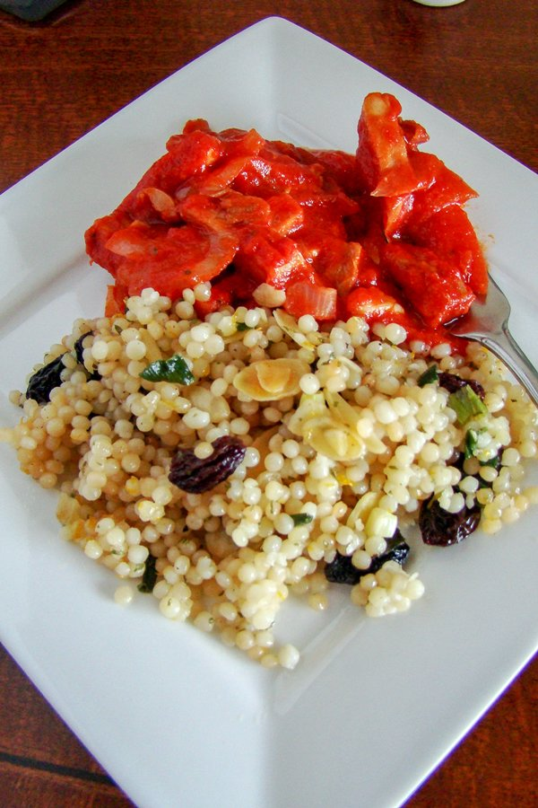 Pearl Couscous With Almonds And Raisins- a side dish that can be served with meats or fish, but also a good option for vegetarians.