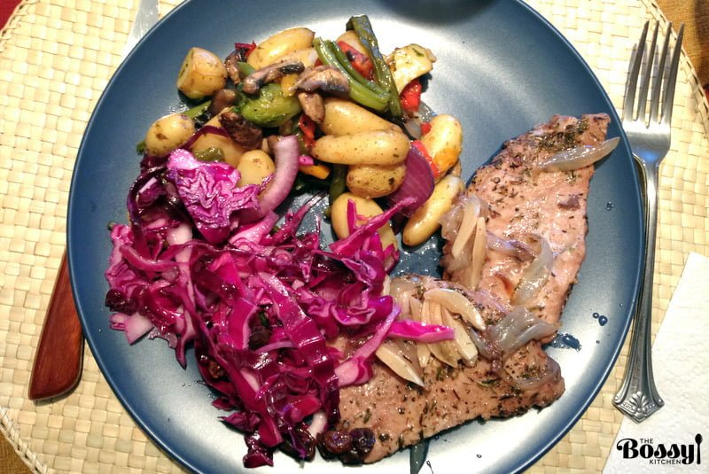 Roasted Boneless Center Cut Pork Chops with Red Wine