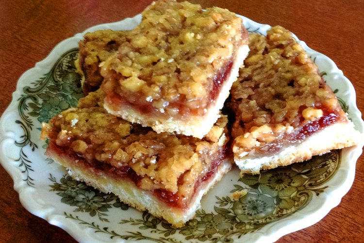 Walnut and Rose Hip Jam Bars