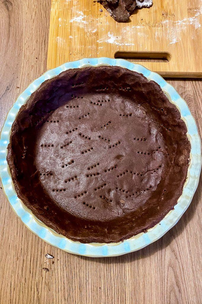 CHOCOLATE TART crust ready for blind baking