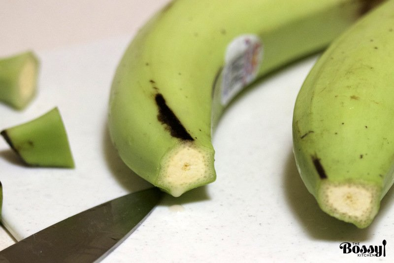 plantains - ends removed- part of the recipe steps