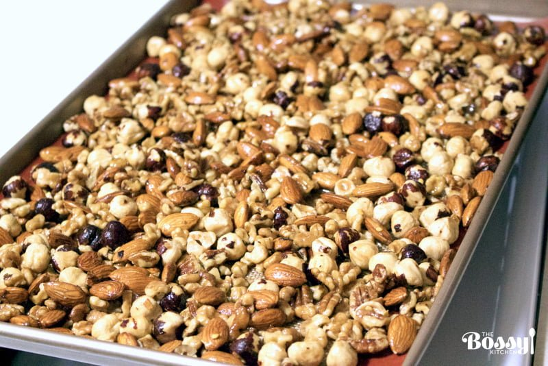 This Spicy Maple Nut Mix Recipe is a typical treat for the Midwest. The recipe makes a great holiday gift for family and friends but also a great snack all year round. Use any mixture of nuts you prefer and good quality maple syrup.