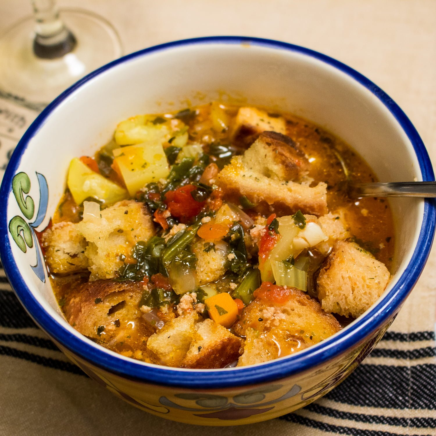Italian Ribollita Soup with Ground Pork- Ribollita soup is a famous Tuscan hearty soup made with bread, vegetables and sometimes meat.