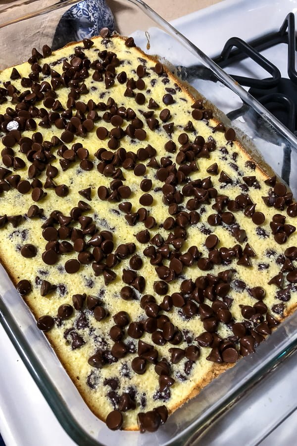 Austrian Chocolate Cream Cheese Bars- chocolate chips layered on top of the cream cheese before putting the pan back in the oven for melting the chocolate