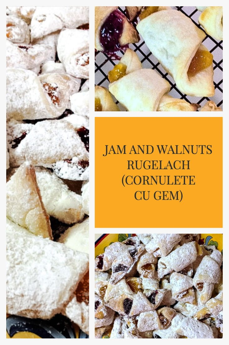 Jam and walnuts rugelach (cornulete cu gem) are perfect cookies all year around for holidays or potlucks. Easy to make, easy to serve and delicious.