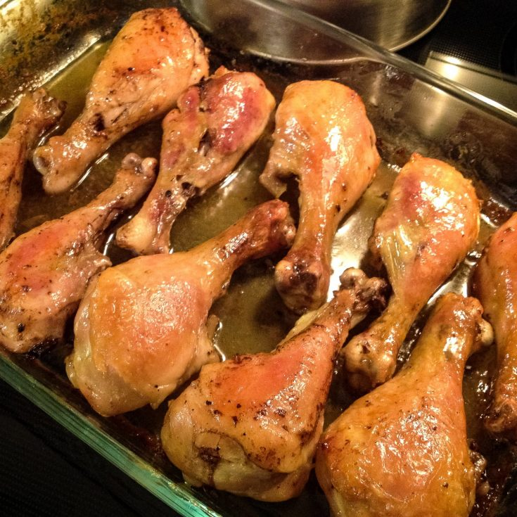 Brandy-Vanilla Butter Roasted Chicken Drumsticks