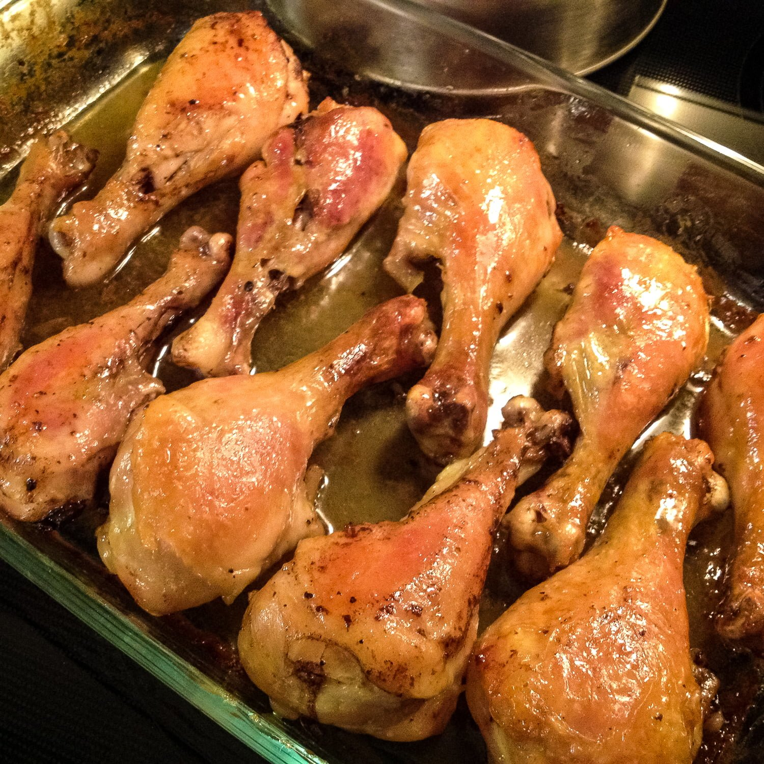 Brandy-Vanilla Butter Roasted Chicken Drumsticks- Fascinating recipe and so unusual! Delicious chicken drumsticks that are moist, perfumed and perfect for a fancy dinner.
