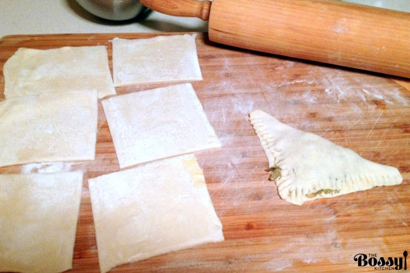 puff pastry ready to be filled with cabbage