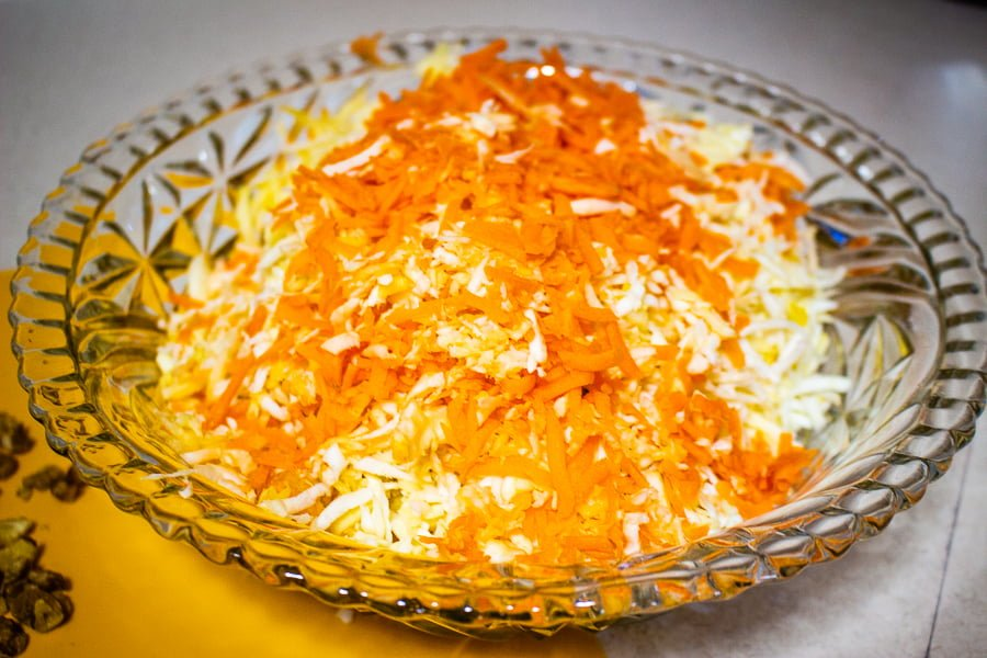 Celeriac (Celery Root) Apple and Carrot Salad-shredded ingredients