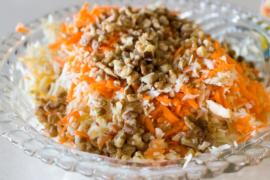 Celeriac (Celery Root) Apple and Carrot Salad- Beautiful winter recipe that provides freshness to your diet. Add chicken or turkey to it for a complete meal