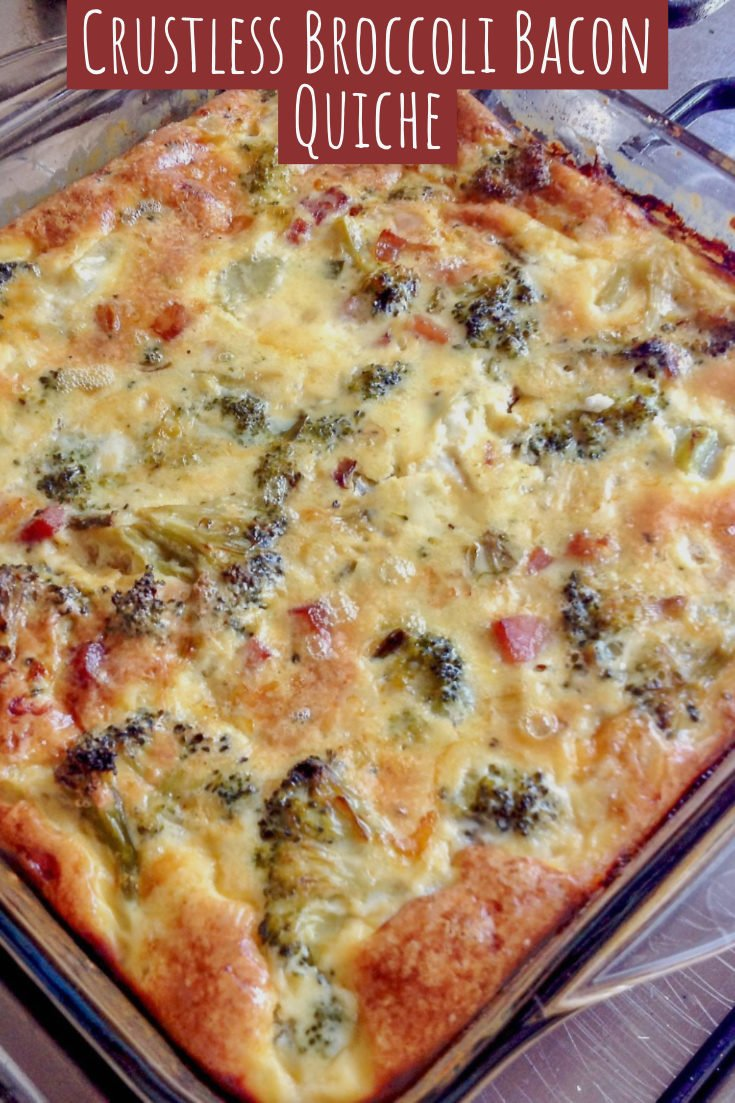 The recipe for Crustless Broccoli Bacon Quiche is one of my favorite recipes.  It is low in carbs, nutritious and delicious.