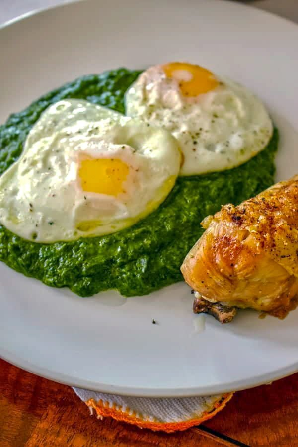Easy creamed spinach with two sunny side up eggs