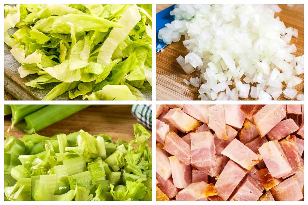 Ingredients collage for lettuce soup