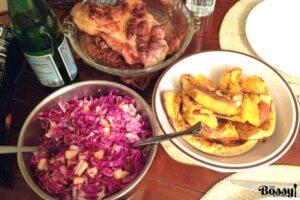 Apple Walnuts And Raisins Red Cabbage Salad
