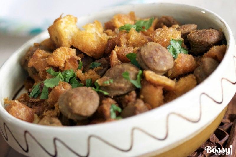 Spanish Migas Con Chorizo-Garlic Pan Fried Bread&Chorizo Sausage