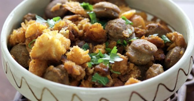 Spanish Migas Con Chorizo Garlic Pan Fried BreadChorizo Sausage8