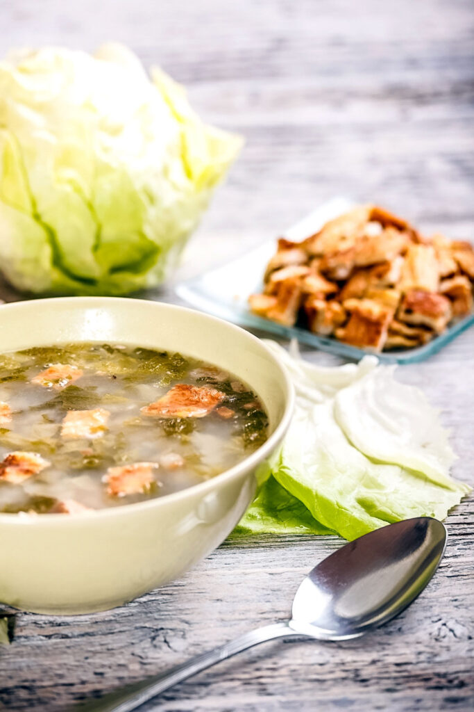Summer Lettuce Soup in a bowl0