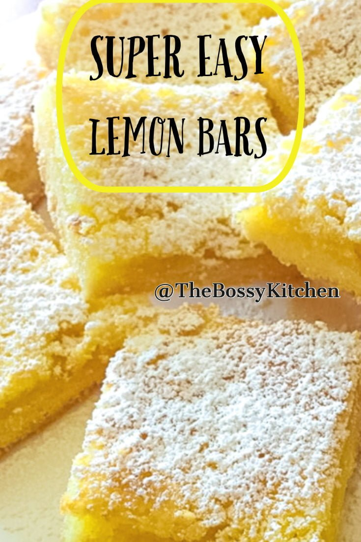 These Super Easy Lemon Bars have a serious lemon hint. Perfect with a cup of coffee or tea, this recipe is suitable for any ocassion. #lemonbars #bestlemonbars