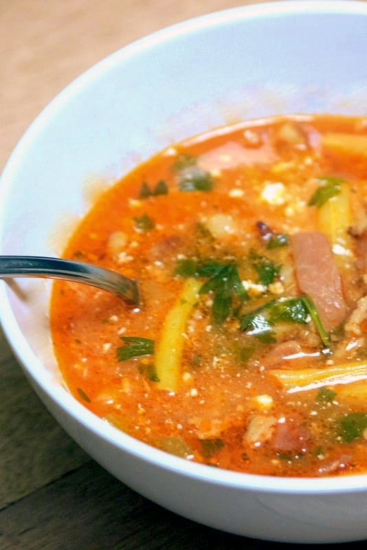 Transylvanian Bacon Green Beans Soup- close up- in a white bowl