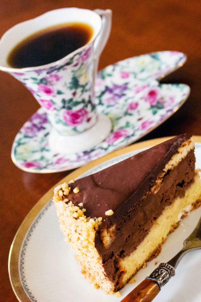 Walnut Chocolate Rum Cake slice of cake1